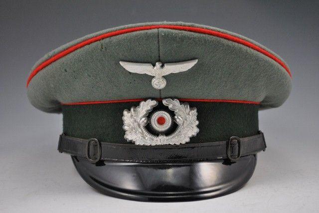 11b1b2bbcdd WWII German Army Artillery NCO EM Visor Hat  214 - Warpath