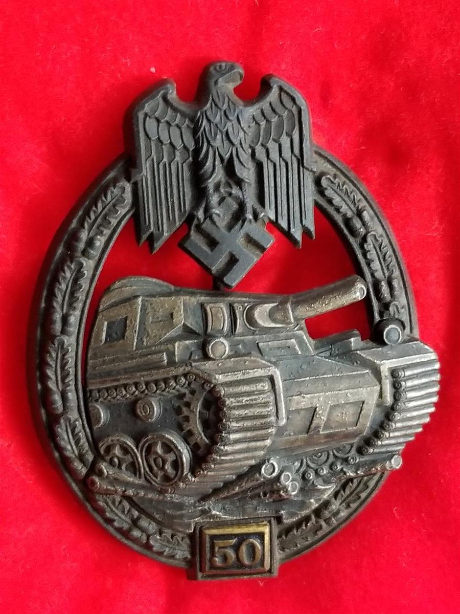 WWII German Heer/SS Panzerkampfabzeichen 50 Engagements Panzer Assault Badge