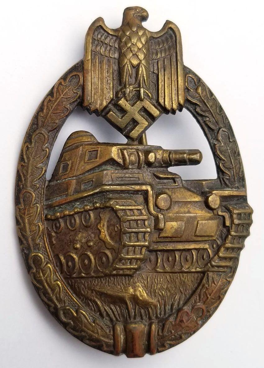 WWII German Army & SS Panzer Assault Badge (Panzerkampfabzeichen) in Bronze