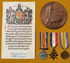 WW1 British Memorial Plaque and Medals Grouping to Royal Navy Able Seaman John Hanson H.M.S. Arrogant