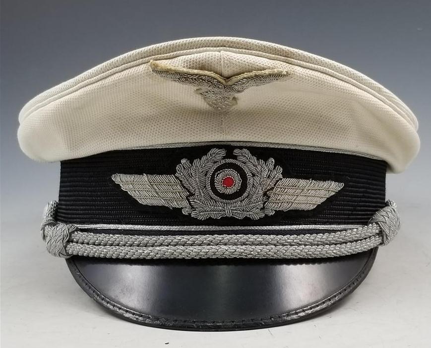 WWII German Luftwaffe Officer's Summer White Top Visor Cap