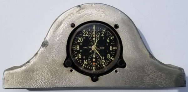 WWII US Navy Jaeger LeCoultre A-10 (Chronoflite) Elapsed Time Clock with Trench Art Base