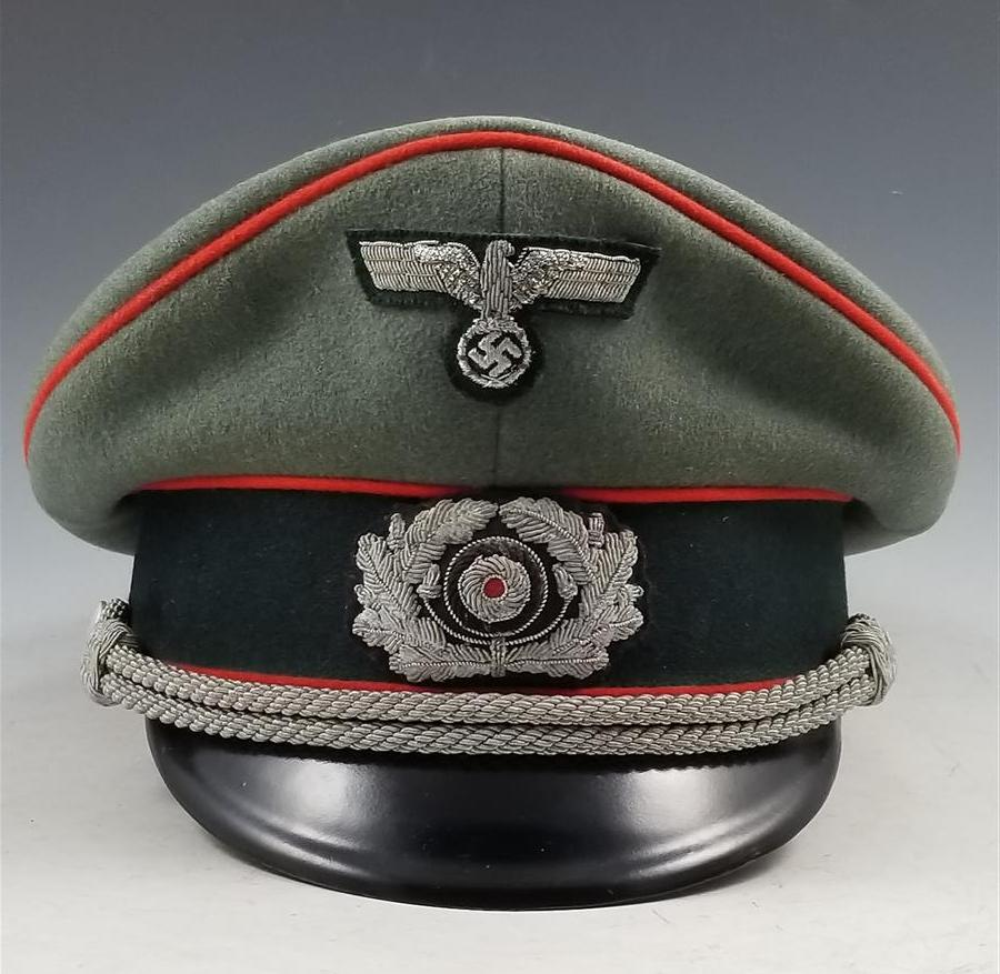 bf4d223de1f WWII German Army Officer s Artillery Visor Cap - Warpath