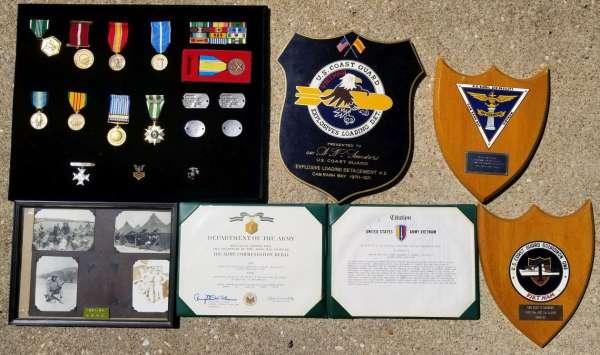 Korean War USMC and Vietnam War Coast Guard Medals & Plaques