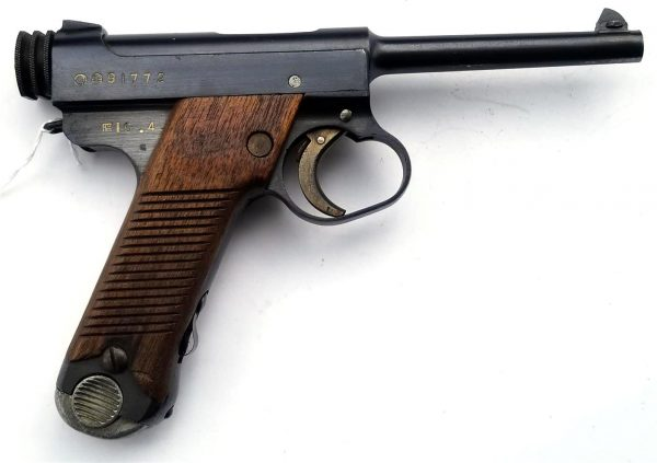 WWII Japanese Type 14 Nambu Pistol serial number 89742 and dated 18.9 (September 1943)...Pistol is all matching and in exceptional condition. All Federal, State and Local Firearms rules apply to local and interstate sales…C&R or FFL is required for this weapon…All Federal, State and Local Firearms rules apply to local and interstate sales… Available in my store By Appointment. Please note: There are NO SALES via PayPal for Firearms and Ammunition …PayPal is accepted for all other sales.
