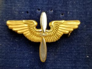WWII Sterling Silver Army Air Force Officer's Winged Propeller Collar Insignia