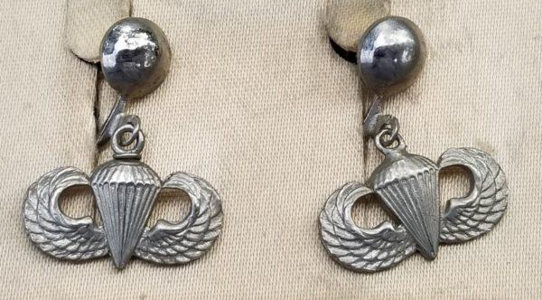 WWII Airborne Sweetheart Jewelry Jump Wing Earrings Set