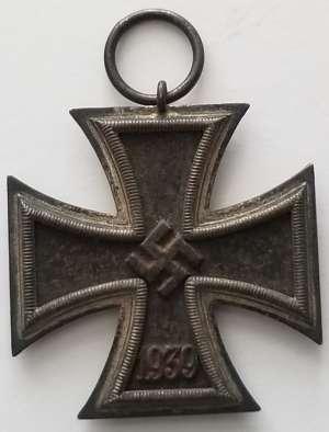 """WWII German Eisernes Kreuz Klein & Quenzer A.G., Idar/Oberstein """"65"""" hallmarked loop German Iron Cross 2d Class."""