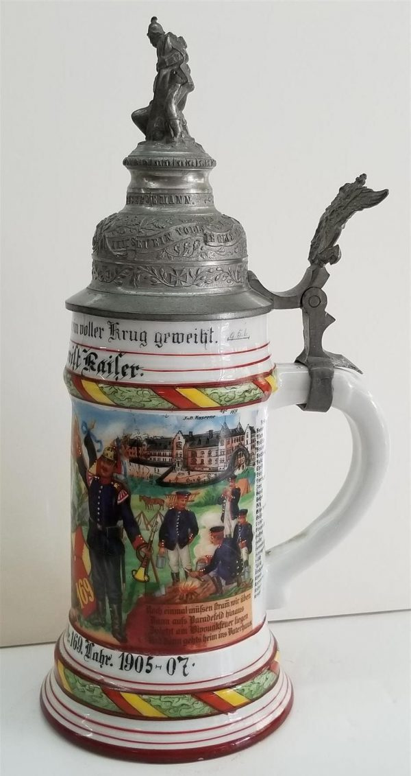 Imperial German 169th Infantry Regimental Porcelain Stein