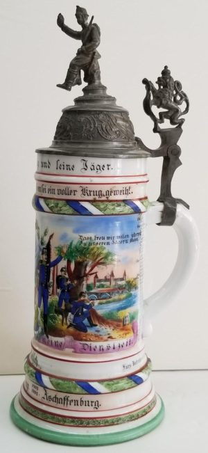 Imperial German Jager Regimental Porcelain Stein